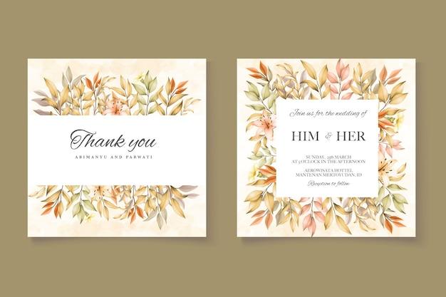 Modello di carta di invito a nozze con foglie d'autunno Vettore Premium