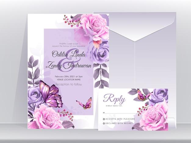 Modello di carta di invito a nozze con bella ed elegante edizione floreale viola Vettore Premium