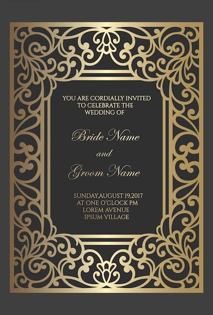 Modello di carta di invito di nozze con motivo a lamina d'oro. design del bordo del telaio tagliato al laser. Vettore Premium