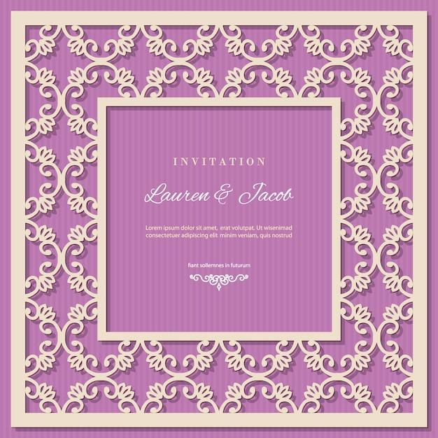 Modello di carta di invito di nozze con telaio di taglio laser. Vettore Premium