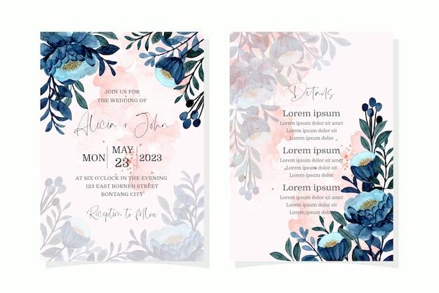 Carta di invito a nozze con acquerello floreale blu Vettore Premium