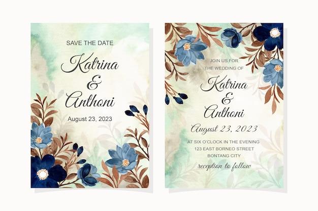 Carta di invito a nozze con fiore blu e foglie marroni acquerello Vettore Premium