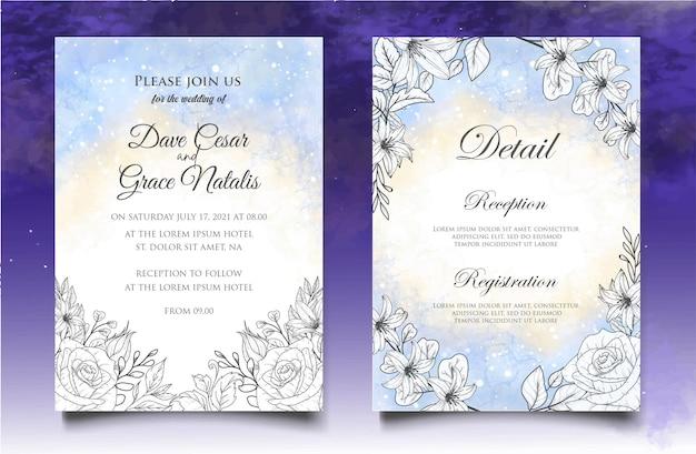 Carta di invito a nozze con decorazioni floreali disegnate a mano Vettore Premium