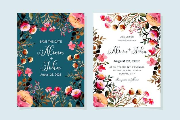 Carta di invito a nozze con acquerello floreale rosa Vettore Premium