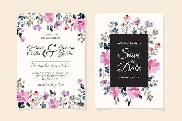 Carta di invito di nozze con acquerello fiore viola Vettore Premium