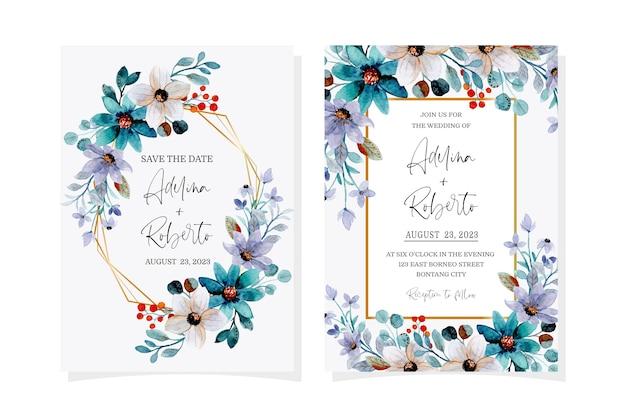 Carta di invito a nozze con acquerello floreale verde viola morbido Vettore Premium