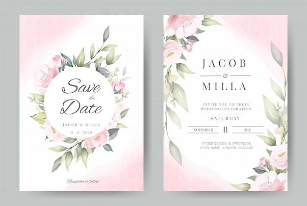 Progettazione stabilita della corona del modello della carta dell'invito di nozze con il mazzo dell'acquerello del fiore rosa. Vettore Premium