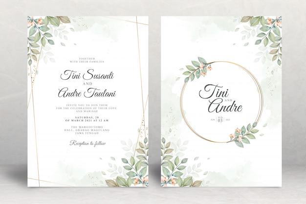 Modello stabilito dell'invito di nozze con l'acquerello delle foglie Vettore Premium