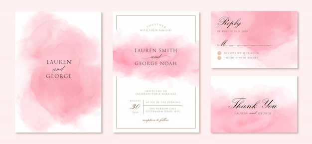 Invito a nozze impostato con sfondo rosa astratto Vettore Premium