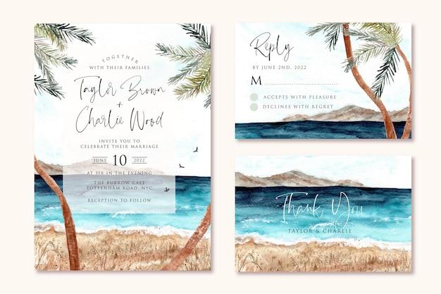 Invito a nozze con sfondo acquerello spiaggia e palma Vettore Premium