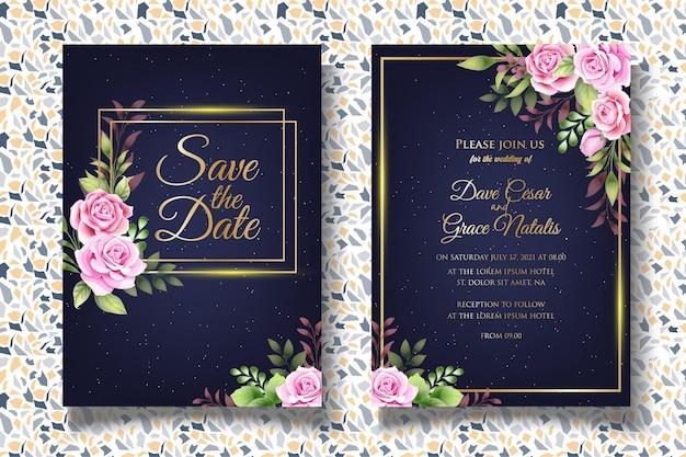 Invito a nozze con eleganti foglie floreali Vettore Premium