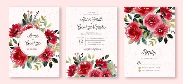 Invito a nozze con acquerello giardino fiorito rosso Vettore Premium