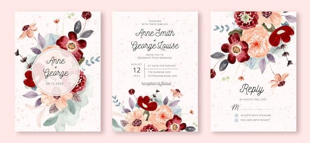Invito a nozze con acquerello fiore di pesco rosso Vettore Premium