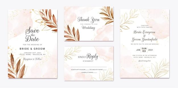 Modello di invito a nozze con decorazione di foglie marroni. Vettore Premium