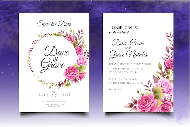 Modello di invito a nozze con elegante decorazione floreale Vettore Premium