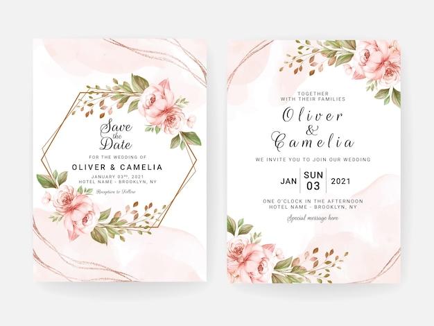 Modello di invito a nozze con decorazioni floreali e foglie essiccate pesca. concetto di design della carta botanica Vettore Premium