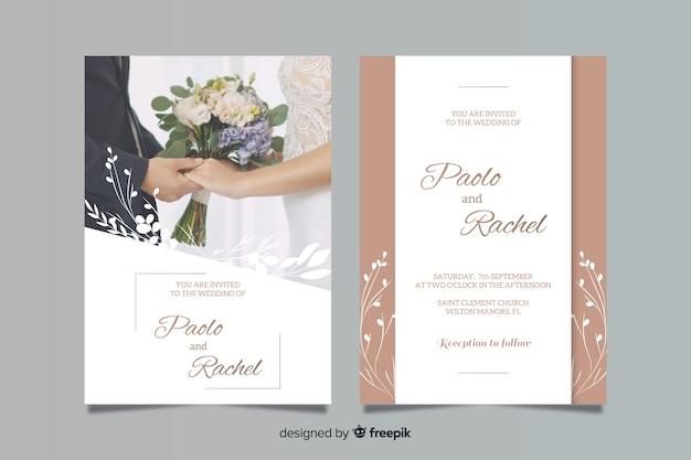 Modello di invito di matrimonio con foto Vettore Premium