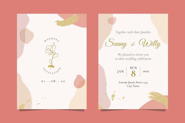 Invito a nozze con bella illustrazione rosa Vettore Premium
