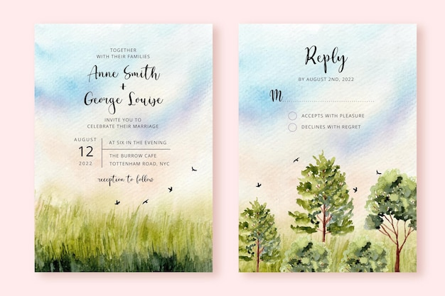 Invito a nozze con acquerello paesaggio di natura verde Vettore Premium