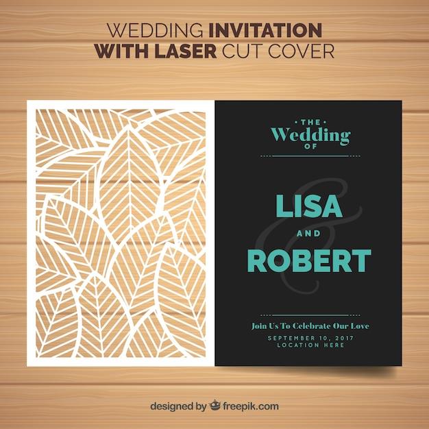 Invito di nozze con foglie tagliate a laser Vettore Premium