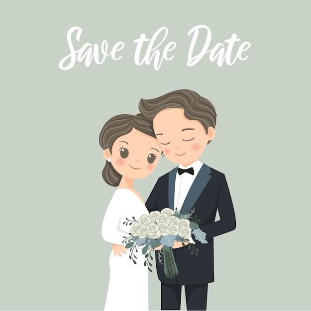 Carta degli inviti di nozze con il fumetto sveglio della sposa e dello sposo delle coppie Vettore Premium