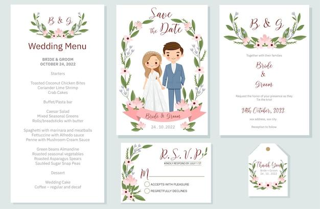 Invito a nozze, menu, rsvp, etichetta di ringraziamento salva la data card design Vettore Premium