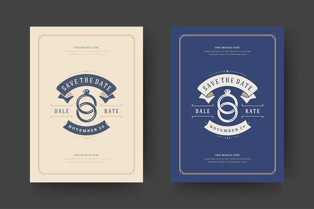 Il matrimonio salva l'illustrazione della carta dell'invito della data Vettore Premium