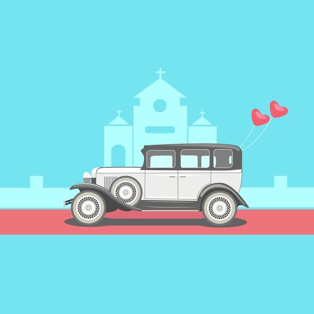 Wedding scene car Vettore Premium