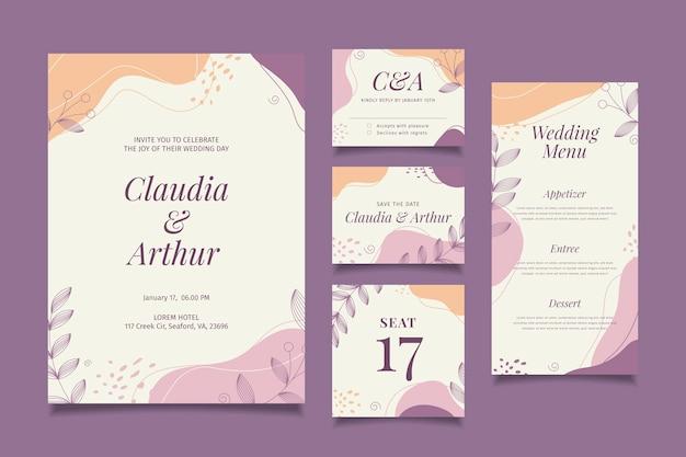 Collezione di articoli di cartoleria per matrimoni Vettore Premium