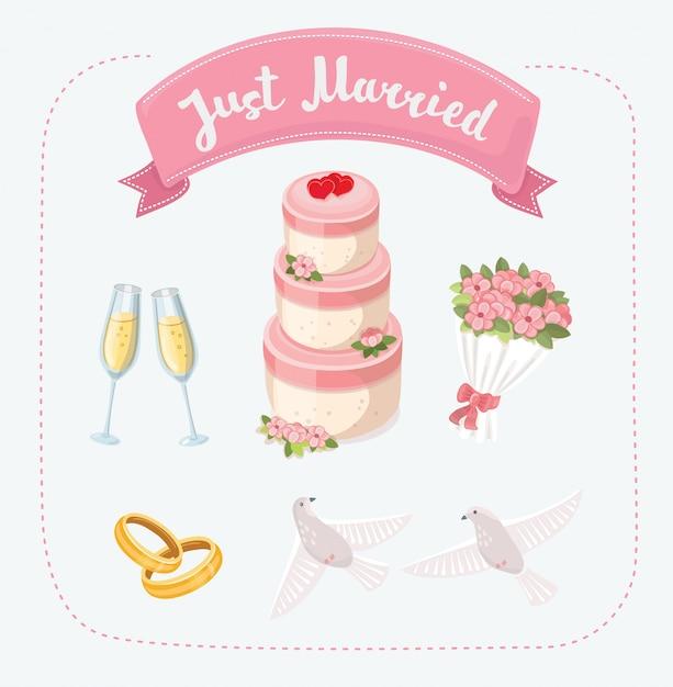 Diserbo imposta icone nello stile del fumetto. grande raccolta dell'illustrazione delle azione di simbolo di nozze Vettore Premium