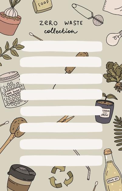 Agenda settimanale e lista delle cose da fare con illustrazioni di rifiuti zero e lettere alla moda. modello per agenda, pianificatori, liste di controllo e altri articoli di cancelleria per bambini. Vettore Premium