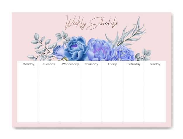Cornice di fiori modello pianificatore di pianificazione settimanale Vettore Premium