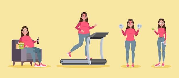 Concetto di perdita di peso. la donna grassa diventa magra Vettore Premium