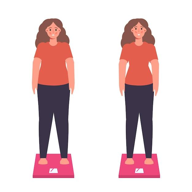 Problemi di peso o concetto di programma di dieta dimagrante Vettore Premium