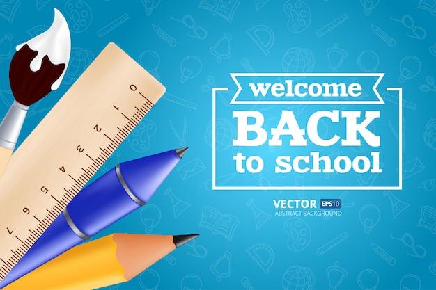 Bentornati a scuola: oggetti con matita, righello, penna e pennello. illustrazione con elementi educativi realistici sul modello senza soluzione di continuità Vettore Premium