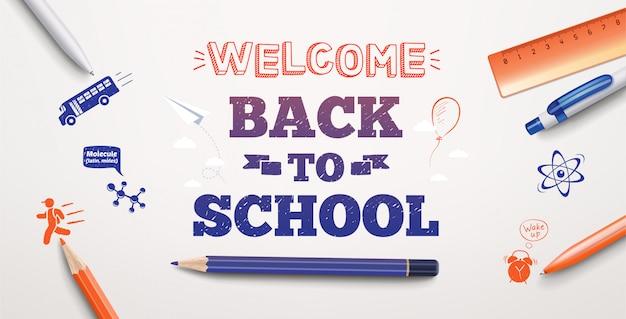 Bentornati al testo scolastico che disegna nella priorità bassa bianca con elementi ed elementi della scuola. banner di illustrazione Vettore Premium