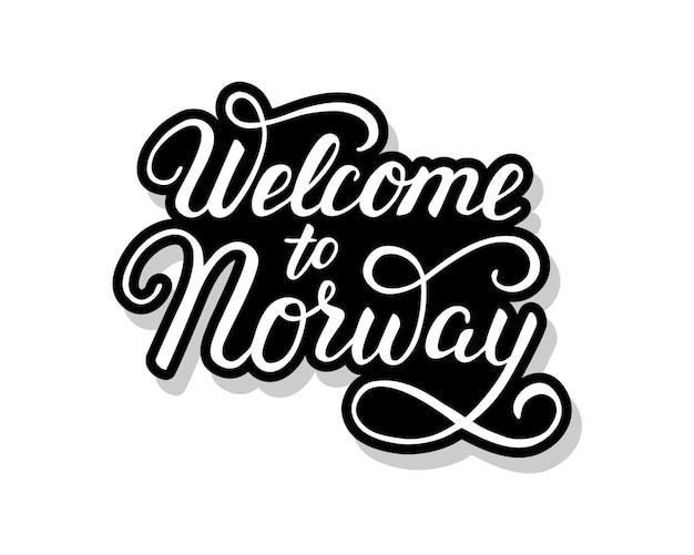 Benvenuto nel testo del modello di calligrafia della norvegia per il tuo. parole del titolo scritte a mano Vettore Premium