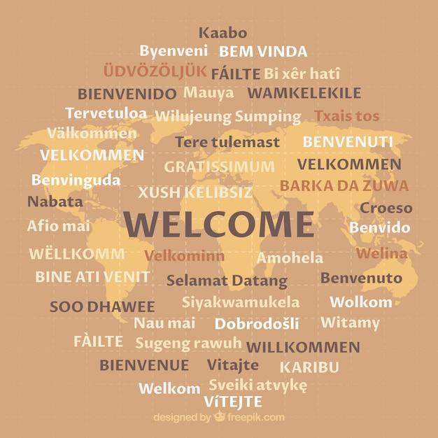 Modello di benvenuto in diverse lingue Vettore Premium