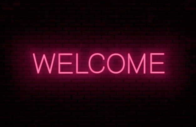 Benvenuto - modello di iscrizione pronto per insegna al neon. testo incandescente sul muro. Vettore Premium