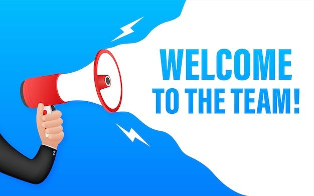 Benvenuti nella squadra scritta sul fumetto. cartello pubblicitario Vettore Premium