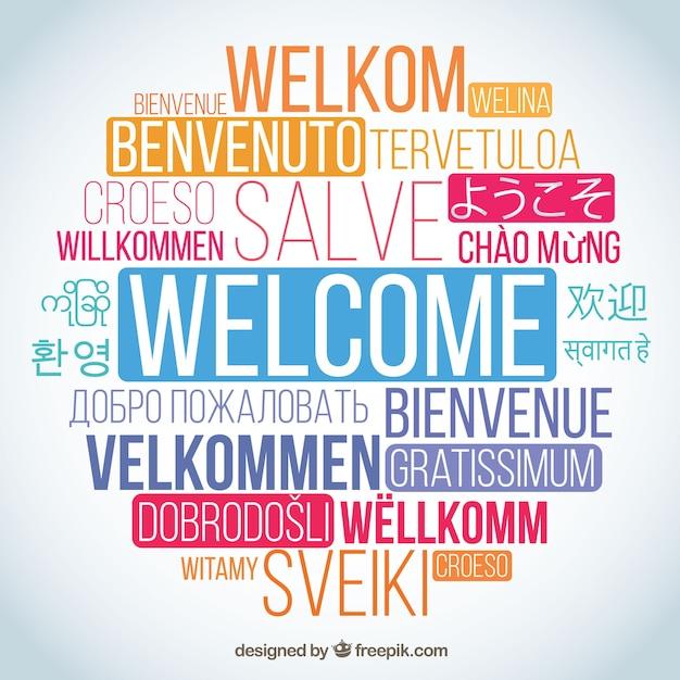 Composizione di parole benvenute in diverse lingue Vettore Premium
