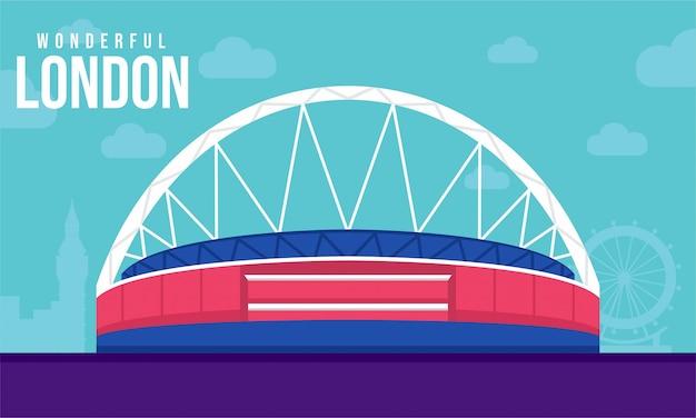 Illustrazione piana dello stadio di wembley Vettore Premium