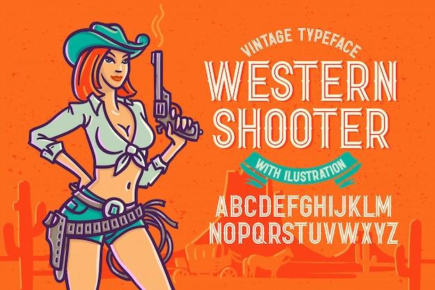 Fonte tipografica di stile occidentale con l'illustrazione della donna Vettore Premium