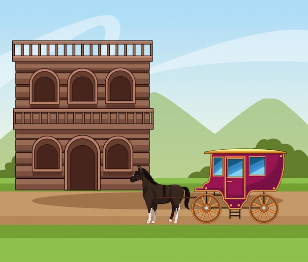 Design occidentale della città con carrozza classica di cavalli ed edificio in legno Vettore Premium