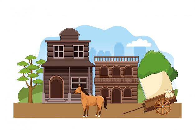 Scenario di città occidentale con edifici in legno, cavallo e carrozza Vettore Premium