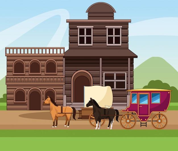 Città occidentale con costruzioni in legno e carrozza con cavalli sul paesaggio Vettore Premium