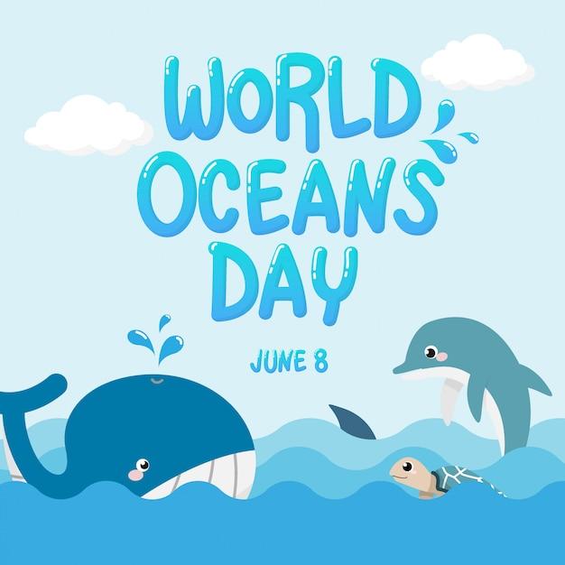 Balena, delfino, squalo e tartaruga nell'oceano con testo world oceans day. Vettore Premium