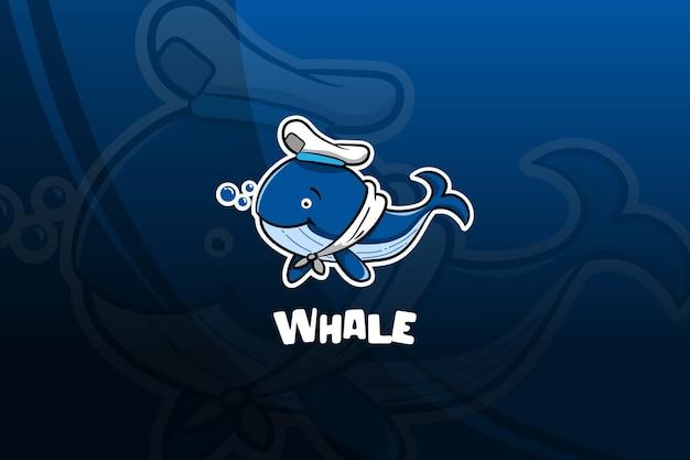 Design mascotte di balena esport. marinaio Vettore Premium