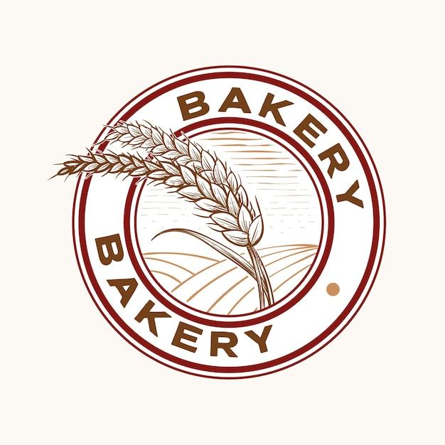 Chicchi di grano e campo per panetteria e design in stile vintage timbro emblema del pane Vettore Premium