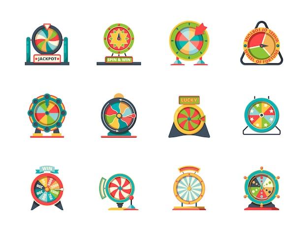 Icona della fortuna della ruota. oggetti del cerchio della raccolta fortunata delle ruote della lotteria della roulette Vettore Premium